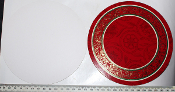 Card Disc - 50 x Red with gold/green 15.4cm diameter (08/50)